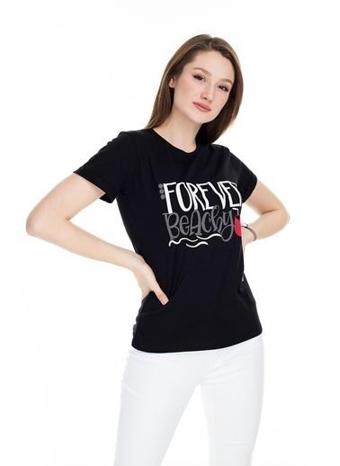 Lela Lela Bisiklet Yaka Kadın T Shirt 5411069F Siyah
